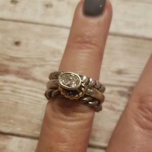 Pandora halo 3 piece stackable ring